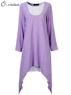 O-Newe Повседневный длинным рукавом Лоскутная Fake-двух частей Нерегулярное платье для женщин