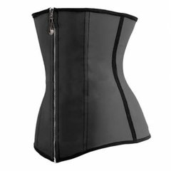 Women Sexy 9 Steel Bones Zipper Corset Latex Underbust Waist Slimming Cincher Corselet Bustier