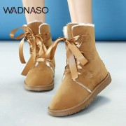 WADNASO Butterfly Knot Lace Up Ankle Flat Snow Boots