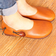 Button Genuine Leather Soft Sole Slip On Comfortable Flat Shoes