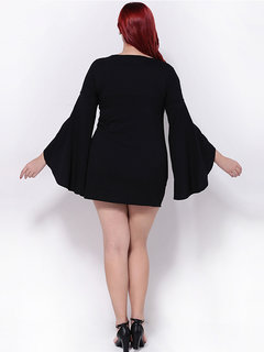 Plus Size Loose Solid Flare Sleeve O-Neck Mini Dress For Women