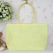 Women Canvas Straw Beach Candy Color Casual Handbag