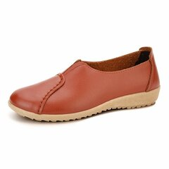 Pure Color Pu Leather Stitching Casual Soft Sole Slip On Flat Loafers