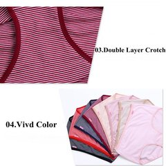 XL-5XL Women Stripe Elastic Cotton Panties Breathable Mid Waist Underwear