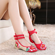 Retro Lace Up Retro Embroidery Flat Floral Dance Shoes