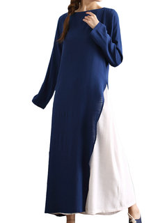O-Newe Elegant Color Contrast Patchwork Long Sleeve Fake-Two Piece Maxi Dress