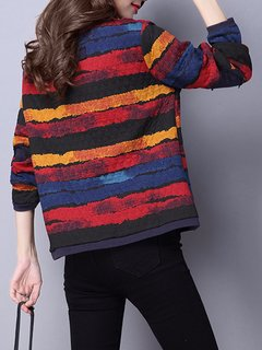 Casual Watercolor Printed Stripe Long Sleeve Zipper Cotton Coat For Women