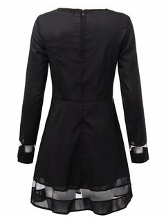 Gauze Patchwork Black Long Sleeve Party Women  Mini Dress