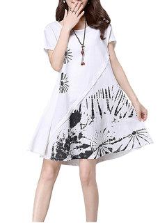 Vintage Printed Short Sleeve O Neck Mini Dress For Women