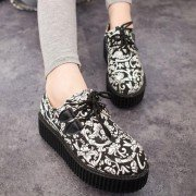 Canvas Black And White Print Flower Platform Shoes