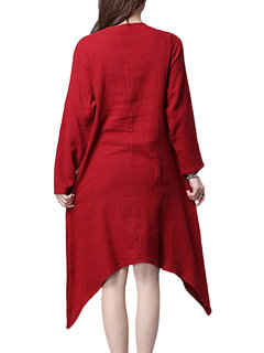 Solid Vintage Loose O Neck Long Sleeve Cotton Robe Dress