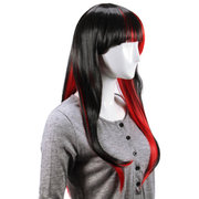 Synthetic Hair  Animation Black Red Layered Wig Long Straight Women Wigs Cosplay Party 70cm