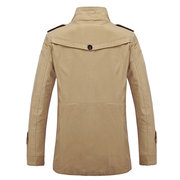 Plus Size Business Casual Thin Multi Pockets Solid Color Epaulets Jacket for Men