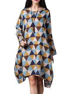 Geometry Printed Irregular Hem Vintage Loose Women Long Sleeve Dress