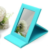 Foldable Mirror Makeup Mirrors PU Leather Travel Compact Pocket 4 Colors