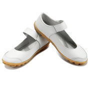 Big Size Hook Loop Pure Color Flat Ballet Soft Comfortable Leather Shoes
