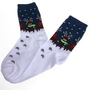 Women Sweet Christmas Santa Clause Reindeer Pattern Long Socks
