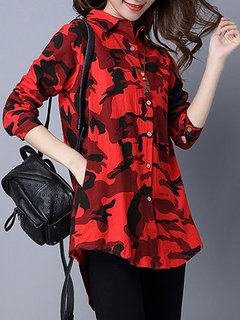 Camouflage Military Printed Cool Long Sleeve Women Blouse