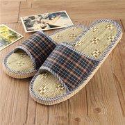 Flax Peep Toe Plaid Check Flat Slip On Indoor Casual Home Floor Slippers