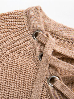 Casual Lace Up Knit Solid Bandage Long Sleeve Women Sweater