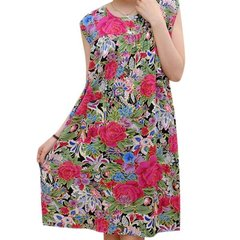 Plus Size Women Loose Floral Printing Cotton Nightgowns Sleeveless Round Neck Nightdress Sleepwear