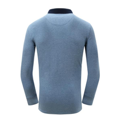 Loose Vintage Embroidery Solid Color Long Sleeve Casual Turn-Down Collar Polo Shirt For Men
