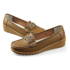 Flower Decoration Soft Comfortable Pure Color Slip On Flat Loafers