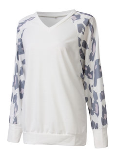 Casual Leopard Stitching V Neck Long Sleeve Blouse For Women