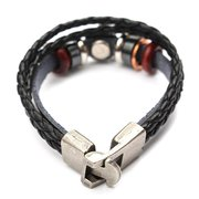 Braided Leather Circle Beads Multilayer Bracelet