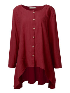 Casual Loose Women Pure Color Long Sleeve Button Blouse