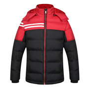 Winter Sport Thicken Duck Down Jacket Contrast Color Detachable Hat Padded Jacket For Men