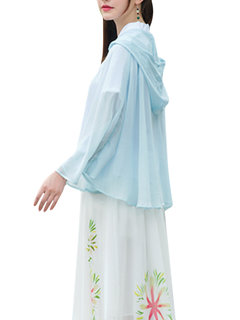 Women Printed Pure Color Cotton Thin Short Shawl Cardigan