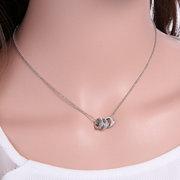 Серебряный кристалл сердце Письмо Moon ключицы ожерелье