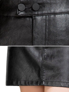 Casual Women Solid High Waist PU Leather Bodycon Skirt