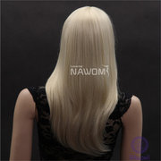 NAWOMI Golden 100% Kanekalon Synthetic Wig Full Bang Medium Length Elegant