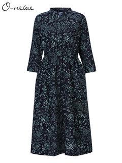O-NEWE Ethnic Vintage Printing Mandarin Collar 3/4 Sleeve Maxi Dress For Women
