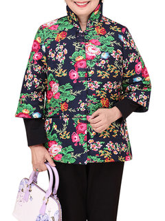 Chinese Style Flower Printed Plate Button Stand Collar Coat For Women