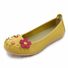 Floral Button Leather Cute Sweet Soft Sole Slip On Flat Loafers