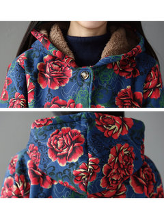 Folk Style Women Floral Printed Long Sleeve Hooded Thicken Coat