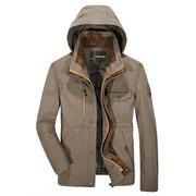 Свободный Открытый Хлопок Multi-карманный Solid Color отстегивающимся капюшоном куртки для мужчин