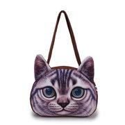 Women 3D Cute Cat Face Pattern Handbag Casual Cartoon Shoulder Bag