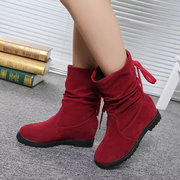 Warm Wool Lining Scrub Hidden Wedges Lace Up Mid Calf Boots