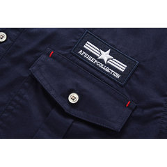 Spring Fall Mens Millitary Overalls Retro Turndown Collar Long Sleeve Cotton Shirts