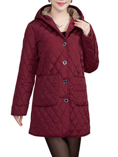 Women Casual Hooded Rhombus Pattern Solid Color Thicken Coat
