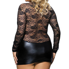 Sexy See Through Temptation Nightclub Dress Lace Imitation Leather Patchwork Nightdress For Women