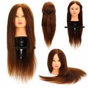 24-дюймовый 100% реальные человеческие волосы Голова манекена салон парикмахерского обучения модели Зажим Держатель