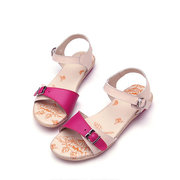 Leather Color Match Buckle Peep Toe Flat Summer Beach Sandals