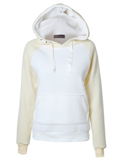 Casual Loose Hooded Drawstring Contrast Color Pullover Sweatshirt For Women