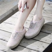 Heart Lace Breathable Lace Up Casual Cute Flat Canvas Shoes