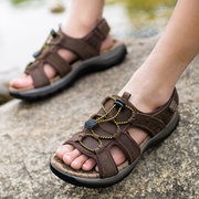 Men Leather Hollow Out Wearproof Lace Up Summer Beach Outdoor Sandals